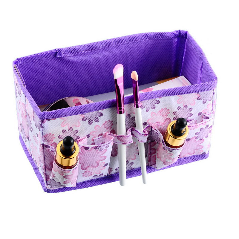 100pcs/lot Multifunction Beauty Flower Printing Folding Makeup Cosmetics Storage Box Desktop Organizer Free Shipping ZA4219