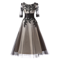 Hot Scoop Black Lace Half Tulle Skirt And Satin Skirt Outside Lace Appliques With Satin Sashes Vintage Cocktail Dresses Elegant