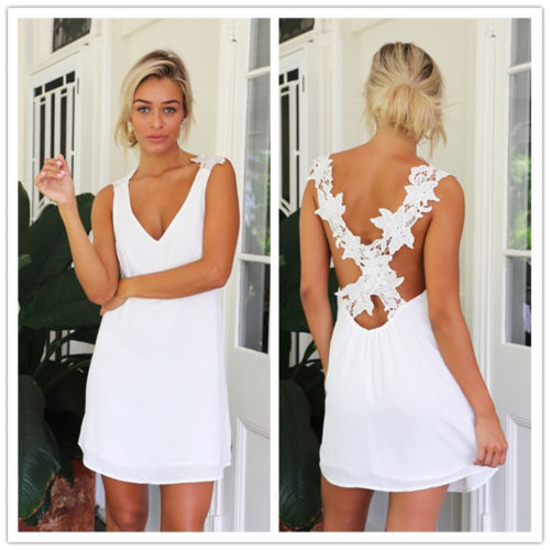 <font><b>2015</b></font> Hot New <font><b>Sexy</b></font> Women Celeb V Neck Backless Lace Crochet Chiffon Summer Beach Mini Dress image