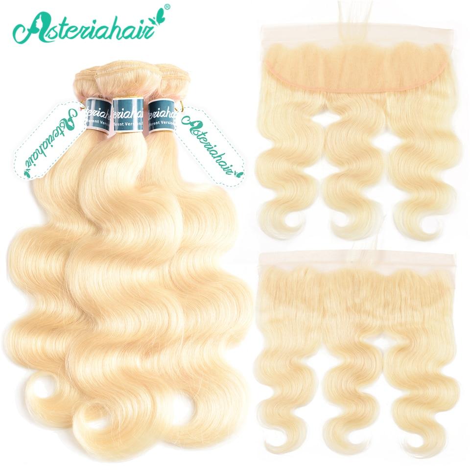 Mechones de pelo rubio Asteria 613 con cierre Frontal cuerpo brasileño ondulado 3 uds extensiones de cabello humano con encaje Frontal Remy