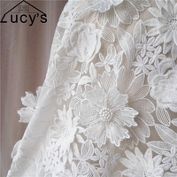 1 Yard Ivory 3d lace fabric Organza embroidered lady garment lace 2017 NEW