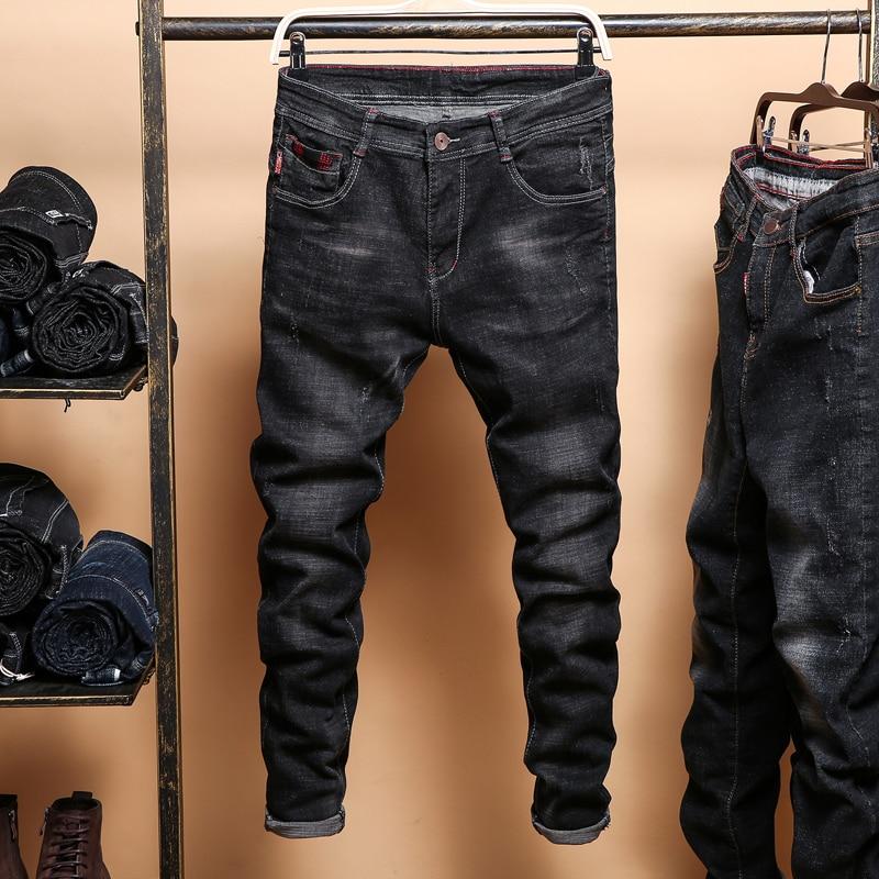 Men's Black Skinny Jeans Spring Autumn Solid Slim Denim Jeans Cowboy trousers Men Cotton elastic Long Jeans Size 36