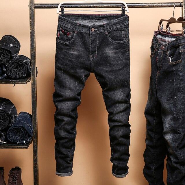b561ecf6e022a Pantalones vaqueros ajustados negros para hombre primavera otoño sólidos pantalones  vaqueros Vaqueros elásticos de algodón para