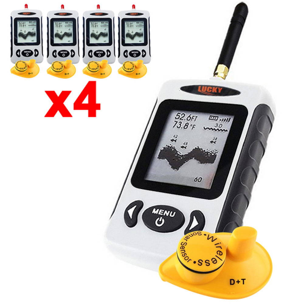 4 x pieces Digital 45M Wireless Dot Matrix Fish Finder Sonar Radio Sea Bed Contour LUCKY FFW-718 Fish Locator Tool lucky fishing sonar wireless wifi fish finder 50m130ft sea fish detect finder for ios android wi fi fish finder ff916