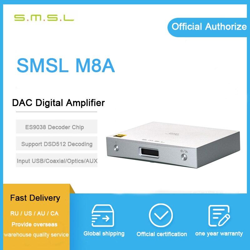 SMSL M8A Native DSD512 usb dac player es9038q2m PCM768kHz xmos/OPTIC/Koaxial/USB Eingang RCA Ausgang HIFI decoder