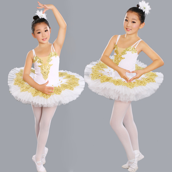 2019 Girl BallerinaTutu Costume Child Sequins White Swan Lake Tutu Dance Dress Ballet clothes for Kids Dress for Ballet
