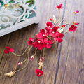 High End red hairgrips women crystal jewelry hairpins artificial flower hair ornaments bridal wedding accessories Gifts ls