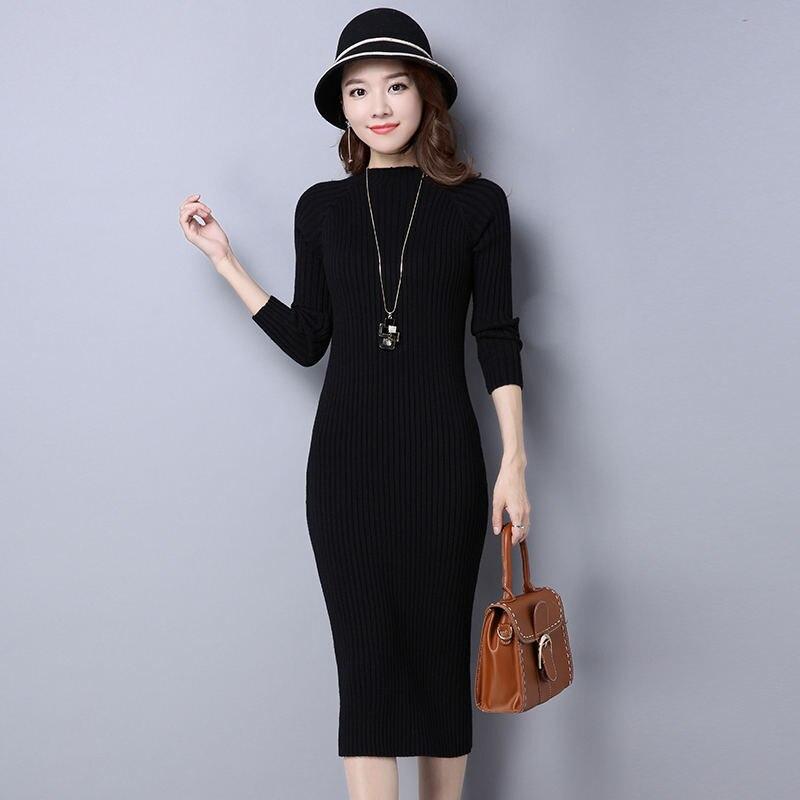 2018 New Autumn Winter Long Knit Dress Female Korean Cashmere Shir...