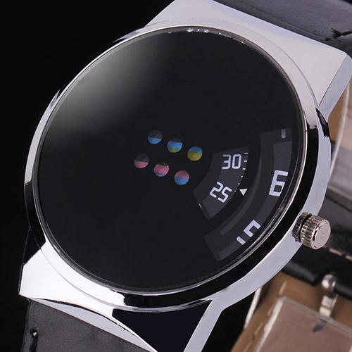 Fashion Top Brand Luxury Unisex Faux Leather Strap Colorful Moveable Dial Sport Digital Wrist Watch