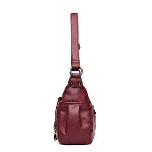 Image 3 - Soft Genuine Leather Women Lady Crossbody Purse Satchel Tote Shoulder Bag With Tassel Luxury Burgundy Handbag Fashion 2018 C1118