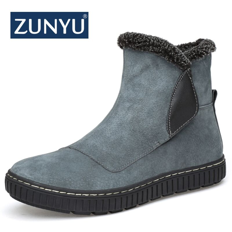 ZUNYU New Men Boots Winter 2018 Cow Leather Warm Snow Boots Men Winter Boots Work Shoes Men Footwear Fashion Rubber Ankle Shoes zenvbnv winter leather men boots work casual boots men keep warm shoes male rubber snow cow suede leather ankle boots for men