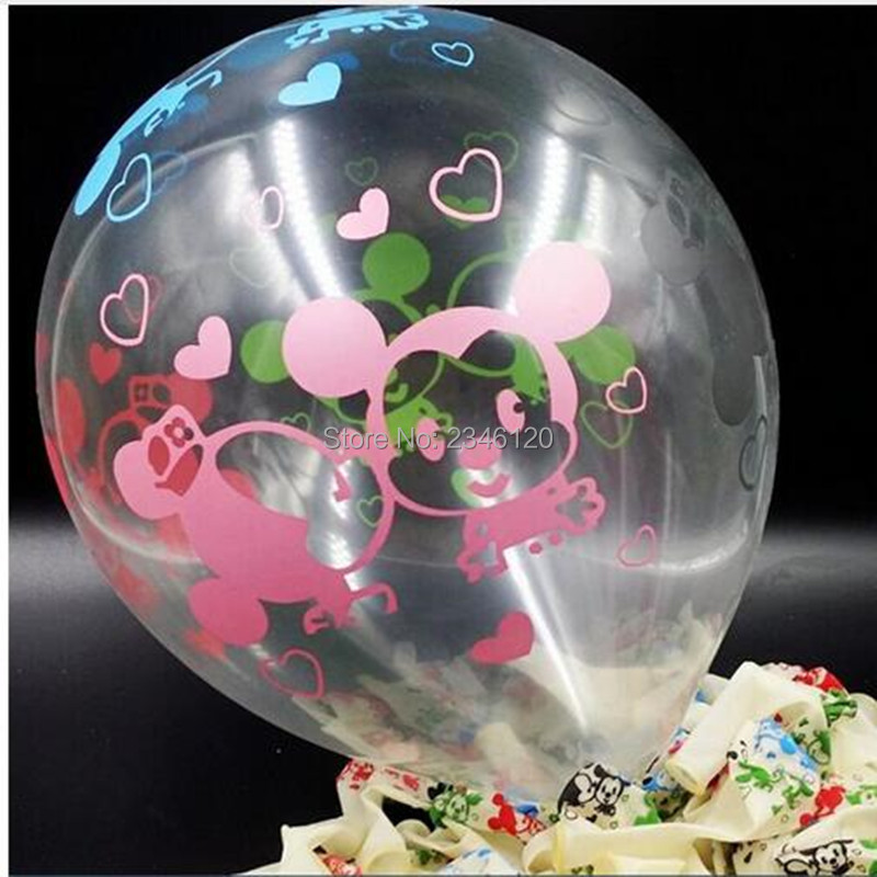 50pcs Mikey mouse 12inch balloon printed balloon round cute animal stamp balloon