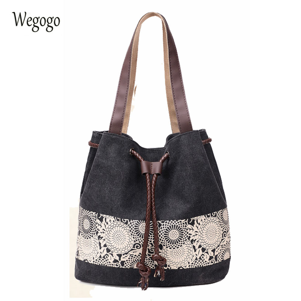 Women's Canvas Handbag Ladies Bucket Shoulder Bag Large Shopping Bag Femme De Marque Woman Bolsos Mujer
