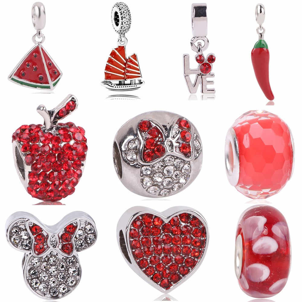 AIFEILI Jewelry European Charm Fit Pandora  Necklace Personality Bead DIY Suitable Bracelet Pendant Red Elegant Minnie Chili