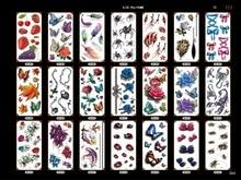 Valentinstag temporäre Tätowierung Aufkleber Früchte Insekten Schmetterling Muster 3D-Effekt Körper Kunst Make-up Hand Tattoos für Frauen Männer