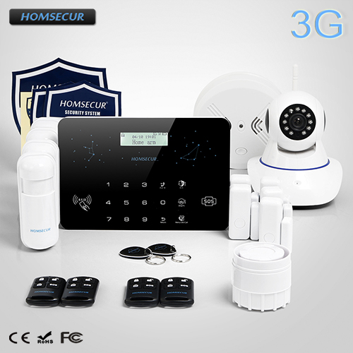 HOMSECUR Wireless LCD 3G WCDMA RFID Burglar font b Alarm b font System Wireless IP Camera