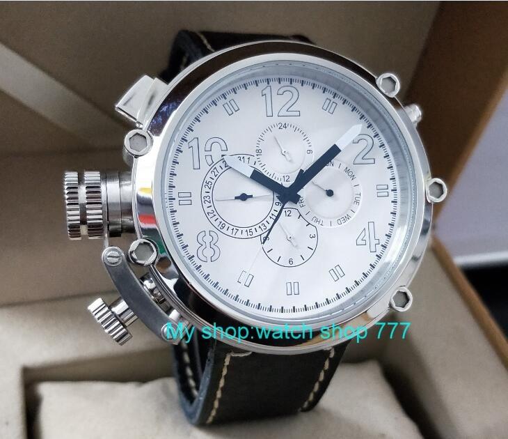 Saatler'ten Spor Saatler'de 50mm parnis beyaz kadran Sol el tipi Otomatik Kendini Rüzgar hareketi çok fonksiyonlu aydınlık erkek saatler dfgd202A'da  Grup 1