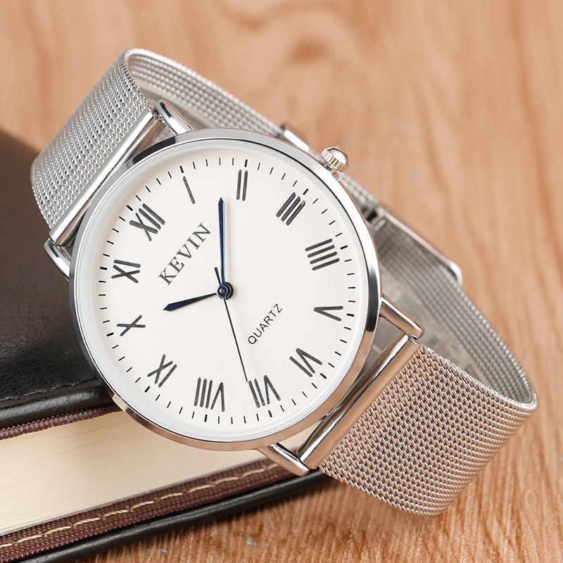 KEVIN montres simples pour unisexe amoureux affaires décontracté Quartz montre-bracelet maille bande sangle mince plaqué robe femmes hommes horloge heure