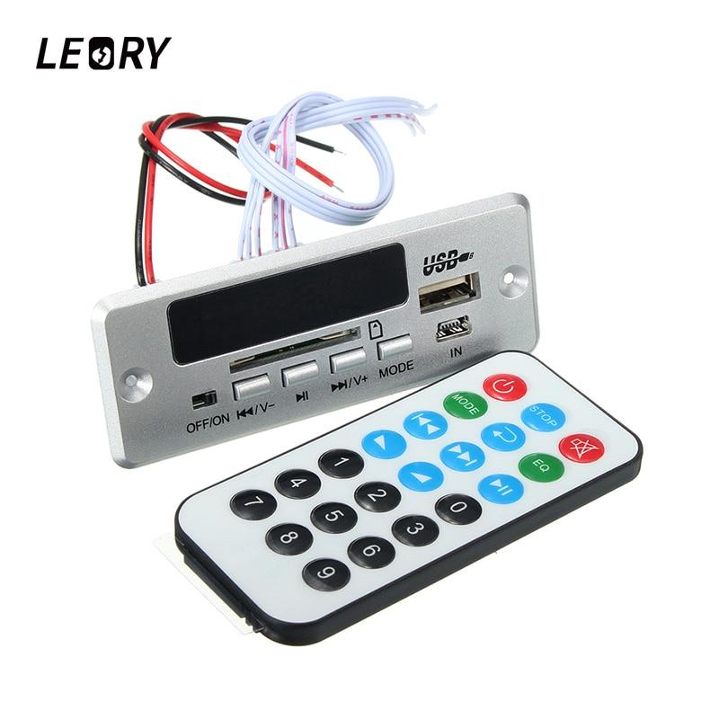 LEORY Wireless Bluetooth MP3 WMA Radio FM Decoder Board 12V5V Universal Audio Amplifier Board Module With USB TFCard For Car wireless bluetooth 12v mp3 wma decoder board audio module usb tf radio for car