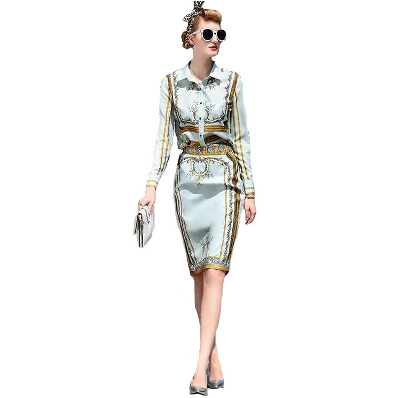 New-Arrival-Long-Sleeve-Printed-Shirt-Printed-Slim-Skirt-Skirt-Suit-160424YL01
