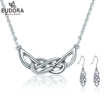 hot deal buy eudora 925 sterling silver set celtics knot pendant neckalce earrings infinity sign dangler earring women fashion jewelry sets