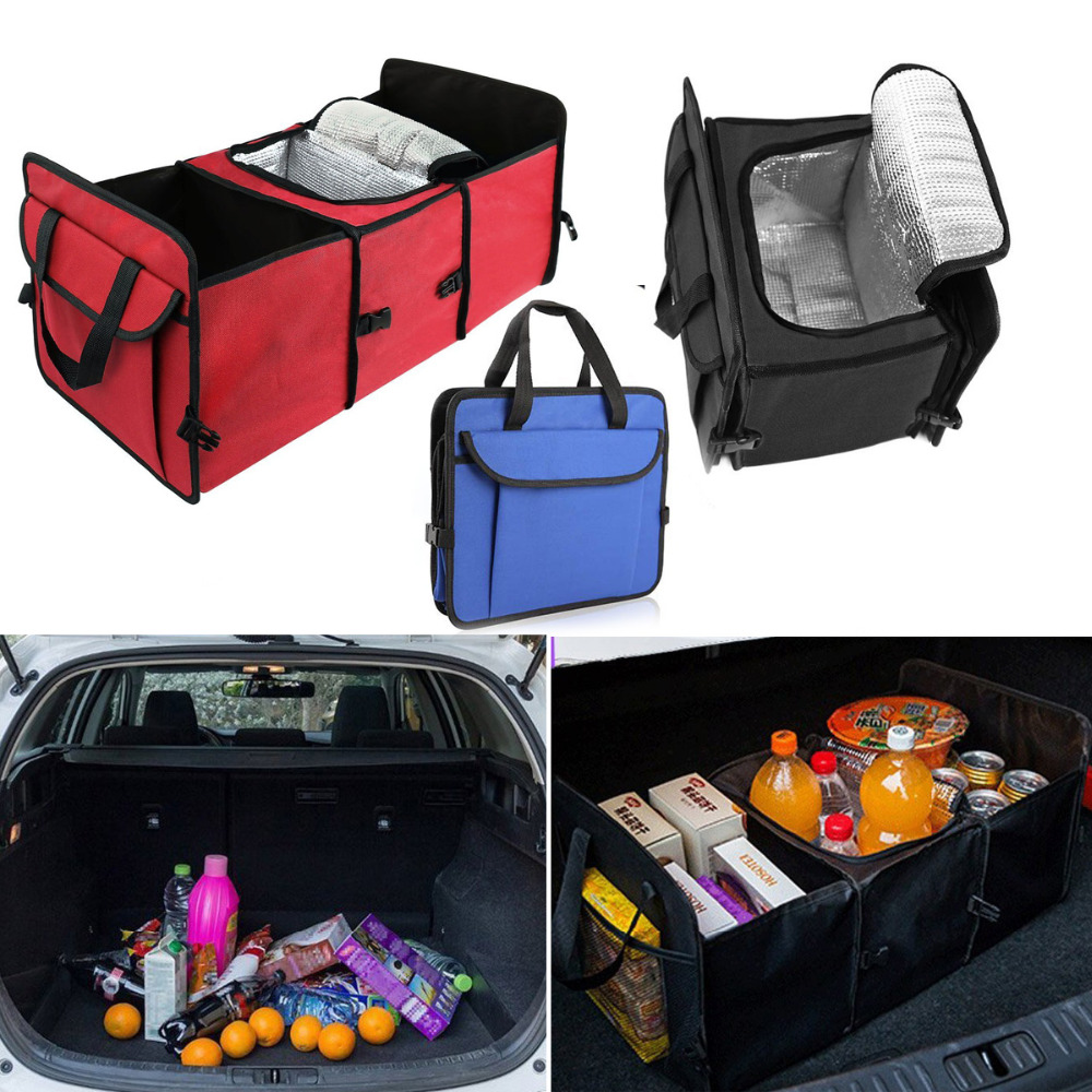 Car Truck Van SUV Storage Basket Trunk Organizer and Cooler Set Foldable Multi Compartment Fabric Hippo car trunk organizer