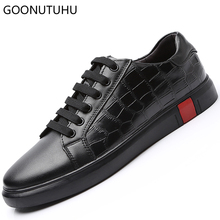 Fashion men's vulcanized shoes casual genuine leather cow breathable platform shoes for men solid black white big size shoe man high quality mens basic shoe 2017 fashion for men casual shoes breathable genuine cow leather man elastic man brand shoes
