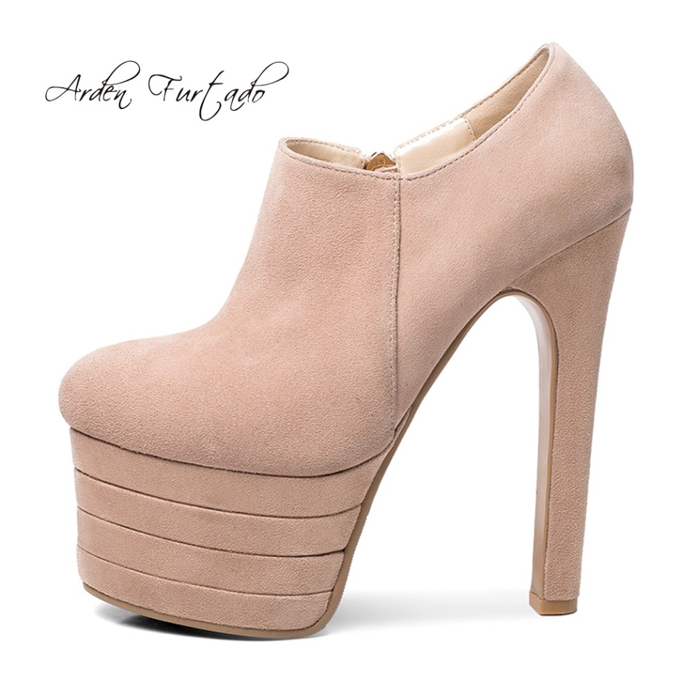 c38842f72aa Detail Feedback Questions about Arden Furtado 2018 spring autumn new platform  high heels 15cm nude pumps zipper sexy woman shoes ladies sexy fashion party  ...