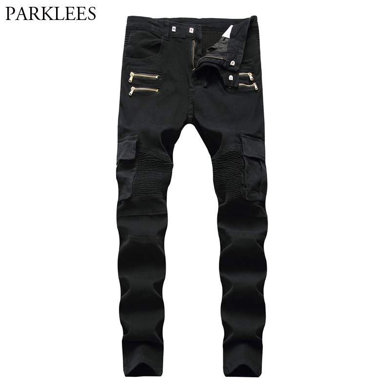Black Biker Cargo Jeans Pants Men 2018 Brand New Folds Pocket Pencil Jeans Homme Zipper Casual Runway Distressed Motorcycle Jean