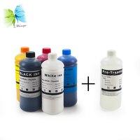 Digital Textile Ink For Epson F2000 L1800 R1900 1390 1400 1410 1430 Textile Ink (BK+C+M+Y+2W)+ 1 Liter Pretreatment Liquid)