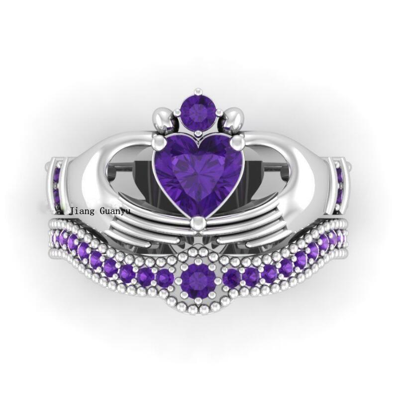 Irish Bridal Jewelry Claddagh Ring Heart 1ct Purple Zircon S925