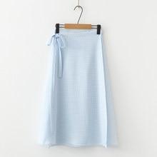 ceddc33e27 Verano nueva dulce de moda Simple pequeña rejilla lado arco Slim salvaje Falda  Mujer(China