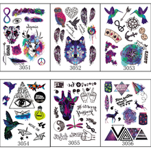 6pcs/lot Book Series Multi-style Personality Temporary Tattoos Arm Tattoo Wolf Feather Owl Reindeer Colored Tatuagem 305