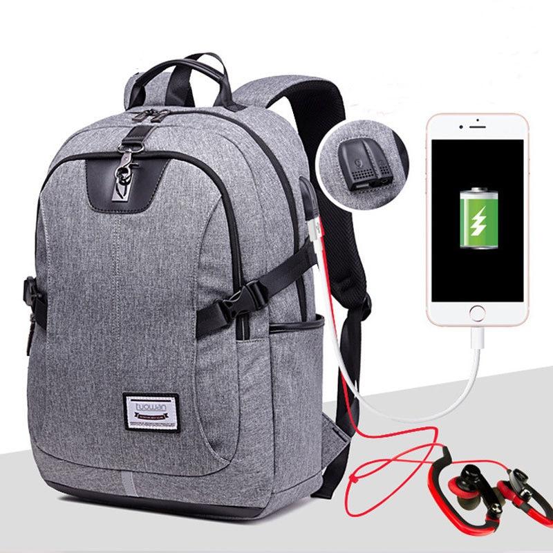 JXSLTC 2018 marque de mode USB chargeur sac à dos hommes 15 pouces pochette d'ordinateur sacs à dos mâle Nylon étanche voyage cartable mochila