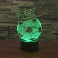 Creative 3D Illusion Lamp LED Night Lights Football Imperial Crown Design Novelty Acrylic Atmosphere Lamp Cute