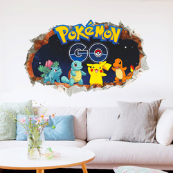 3d cartoon pikachu pokemon go wall decals for kids rooms wall art decor pvc stickers diy removable posters boy's gift