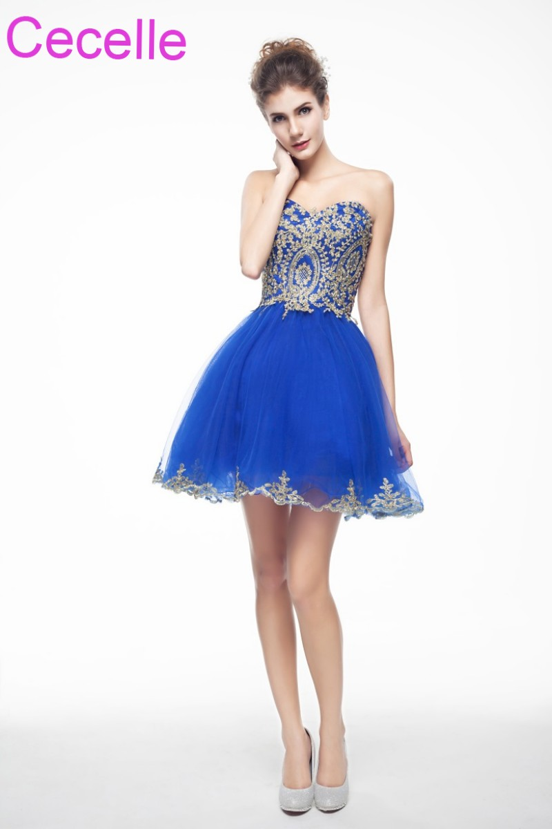 Royal Blue With Gold Cute Short   Cocktail     Dresses   2019 Sweetheart Teens Semi Formal Short Prom Party   Dresses   Robe De   Cocktail
