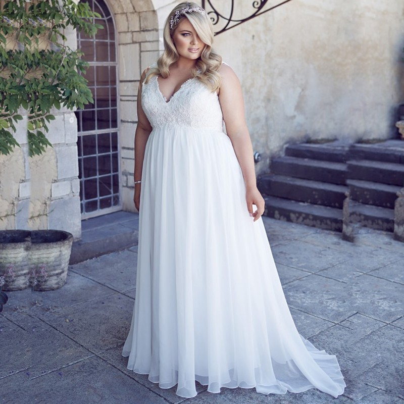 Classic V-neck Sleeveless Plus Size Wedding Dress Elegant Appliqued Robe De Mariage 2019 Vestidos De Novia Chiffon Bridal Gown