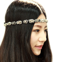 Hot Fashion Retro Style Women Crystal Rhinestone Gray Beads HairBand  Headband  Hairwear 5BP4 7EO3