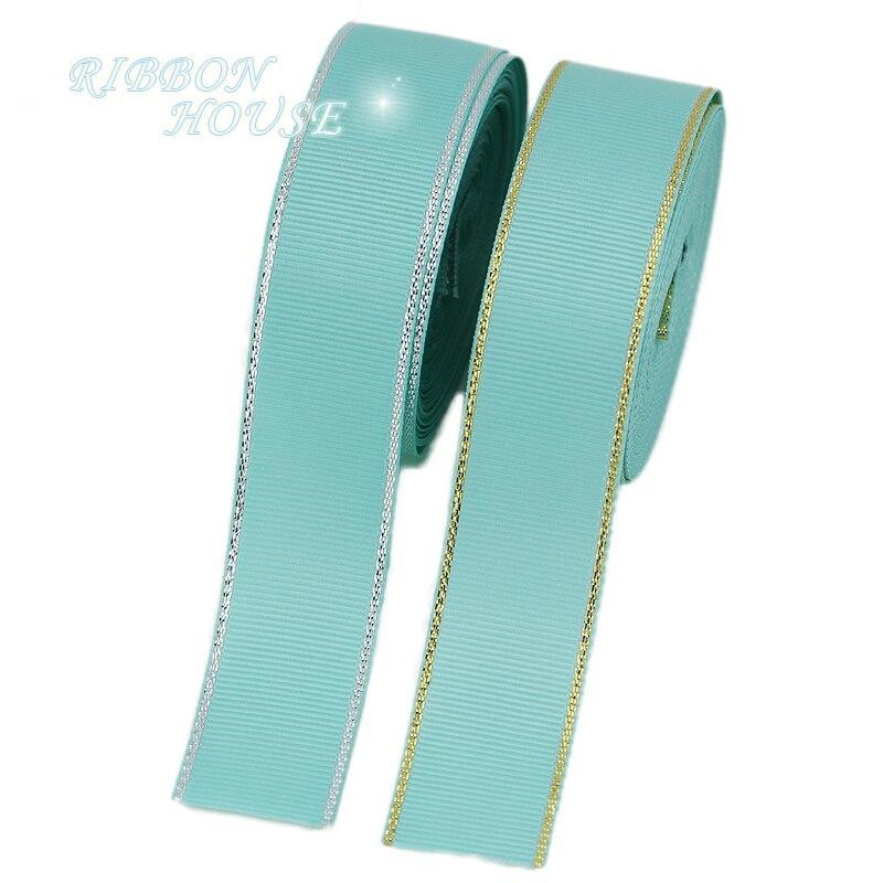 (10 ярдов/партия) Светло зеленый цвета: золотистый, серебристый край Grosgrain ленты Оптовая Продажа Подарочная упаковка Рождество лент