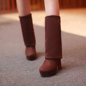 Image 5 - Women Boots Super High Heels Slip On Over The Knee Sexy Long Boots Female Platform Stretch Patchwork Flock Two Ways Wear