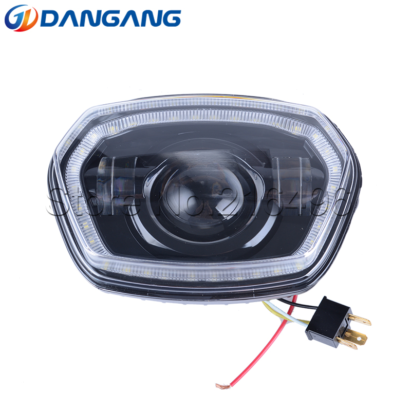 Motorcycle Black LED Headlight With Halo Ring For Vespa Sprint 150 GL / Super GTR