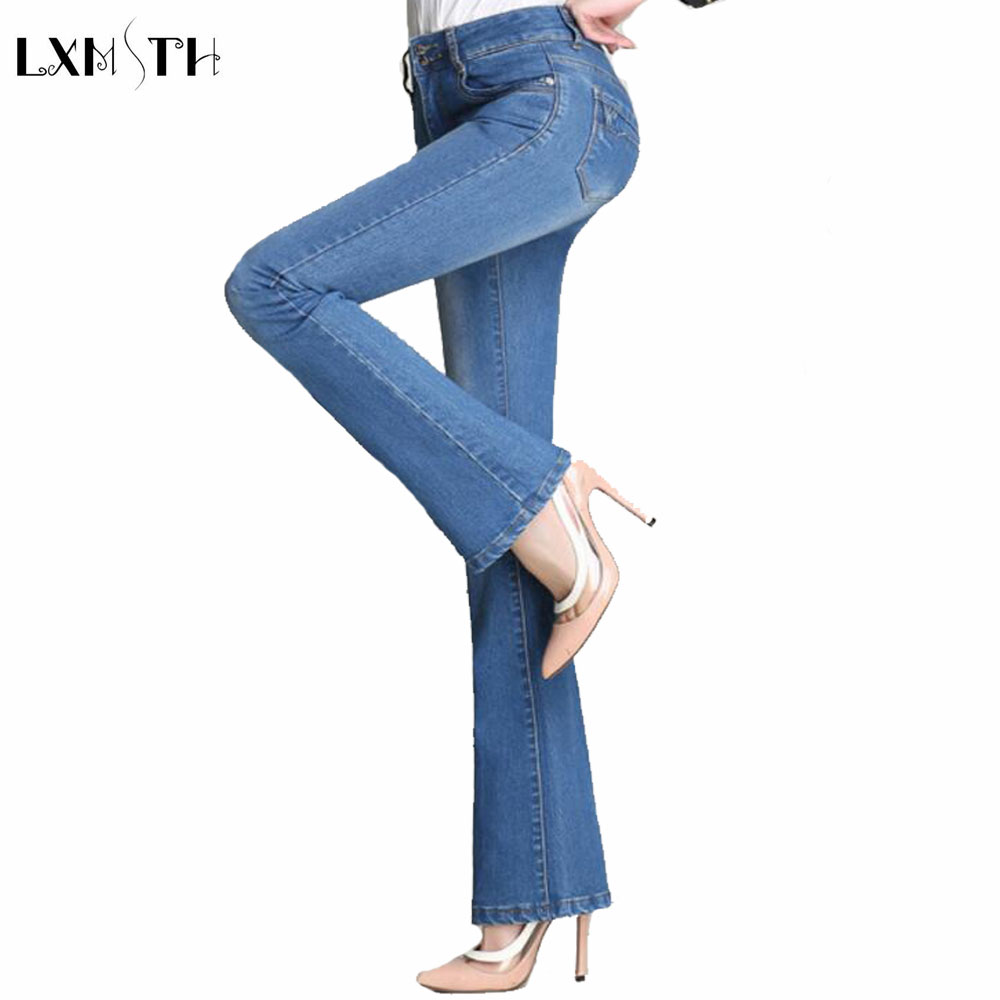 Fashion 2017 Spring Women Jeans Stretch Female Flare Pants High Waist Large Size Slim Thin Denim Trousers Pantalones Mujer plus size elastic waist single breasted denim pants women high waist skinny stretch jean female spring jeans pantalones mujer