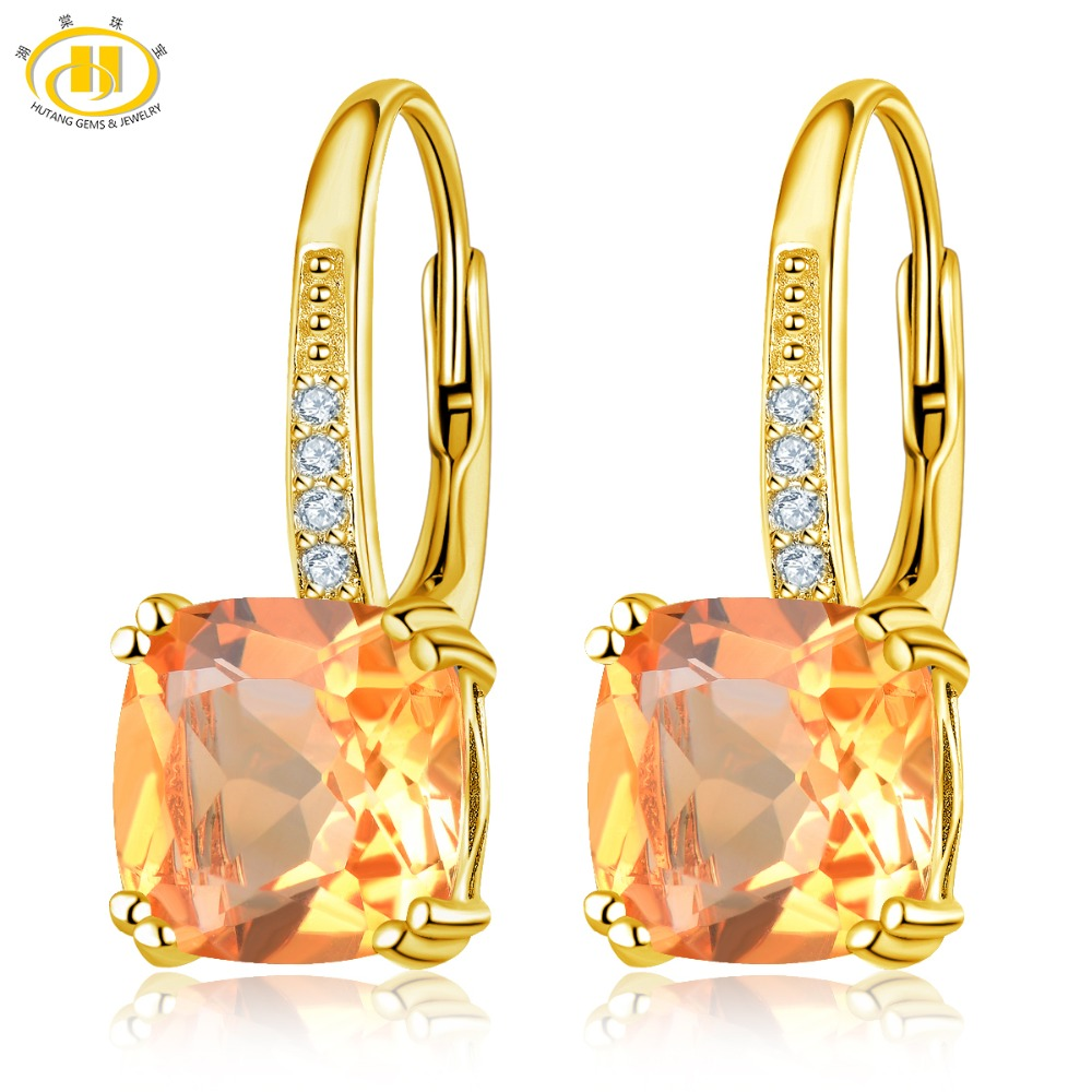 Hutang Citrine Drop Earrings 925 Silver Yellow Gold 100 Natural 8mm Gemstone Fine Stone Crystal Jewelry