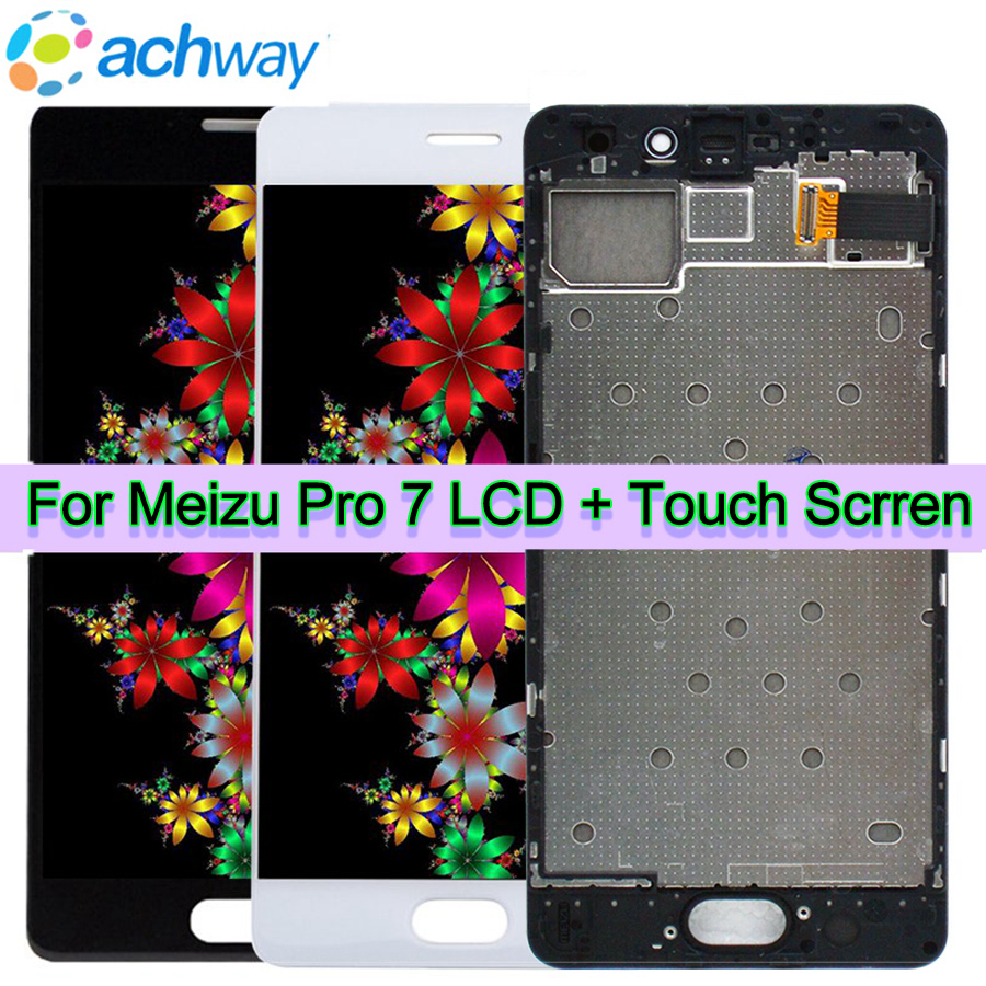 For 5 2 Meizu pro 7 LCD display screen Touch panel Digitizer with frame white Black