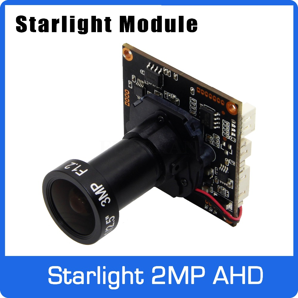Starlight 1080P AHD Camera Module Board with F1 2 4mm Lens and UTC Coaxial OSD Control