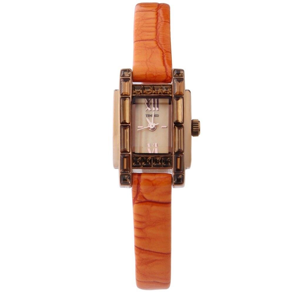 ecd63ed9605 TIME100 Relógio Feminino Elegante Relógio de Quartzo Fecho de Jóias Cinta De  Couro de Cor de laranja Relógios Casuais de Pulso de Vestido para as  Senhoras ...