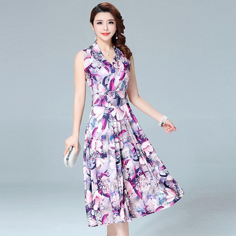 2018 mujeres verano estilo impreso bohemio Beach sundress más tamaño v-cuello sin mangas long Maxi vestido casual Vestidos Mujer