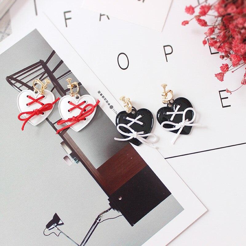 Бесплатная доставка Женская мода ювелирные изделия С симпатичным бантом галстук белый черный красный любовь кулон девочек ухо клип милые с...