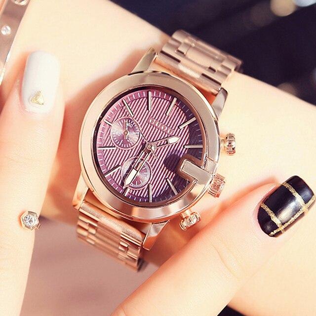 GUOU Relógios das mulheres Pulseira Senhoras Relógio Marca de Topo Moda  Rose Gold Aço Inoxidável Mulheres 25a07c35c2